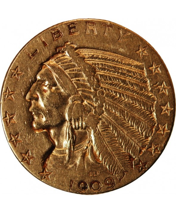 USA, INDIEN - 5 DOLLARS OR 1909