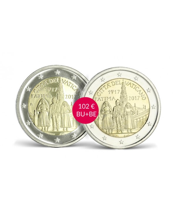 LOT 2 X 2 Euros Commémo. Vatican 2017 BU & BE -  100 ans Fatima