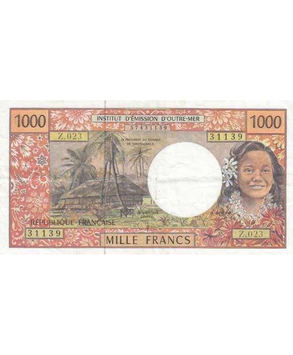 1000 Francs ND1996 - Tahitienne, case, paysage - Sign 8