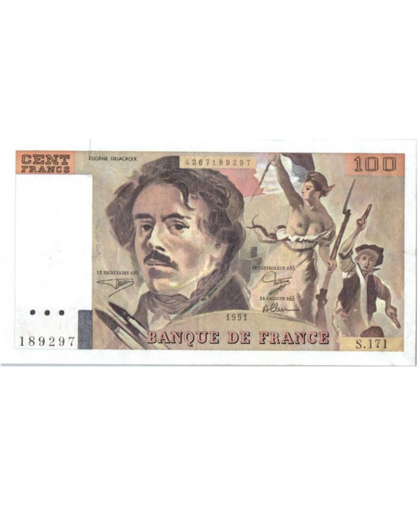 France 100 Francs Delacroix - 1991 Série S.171 - Grand filigrane