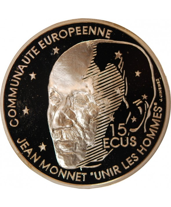 FRANCE, JEAN MONNET - 100 Francs  / 15 ECUS ARGENT 1992 BE