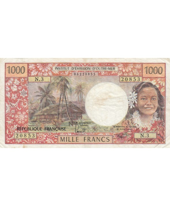 1000 Francs ND1977 - Tahitienne, Hibiscus, paysage, cerf