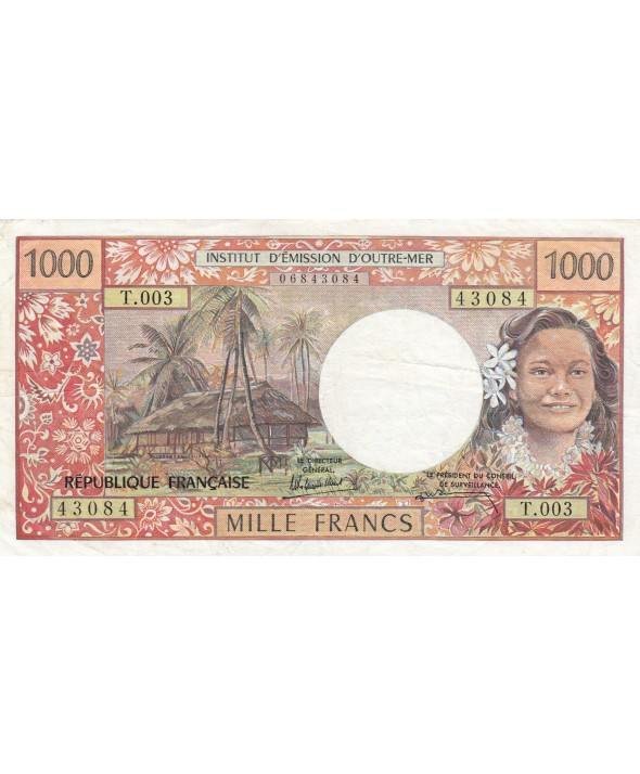 1000 Francs ND1985 - Tahitienne, Hibiscus, paysage, cerf