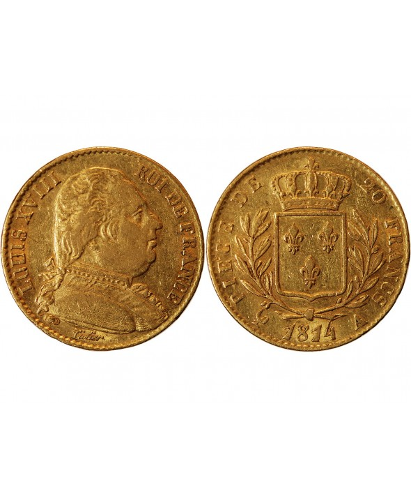 LOUIS XVIII - 20 FRANCS OR 1814 A PARIS