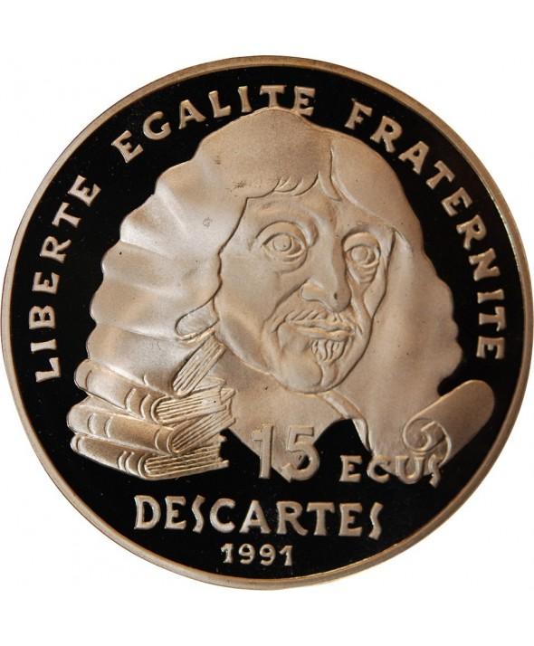 FRANCE, DESCARTES- 100 Francs / 15 ECUS ARGENT 1991 BE
