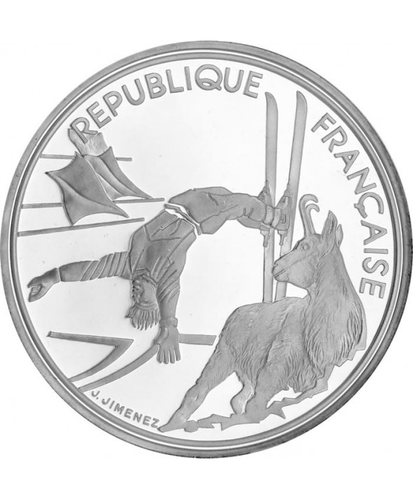 100 Francs 1990 - Albertville 1992  Ski Acrobatique - Argent BE