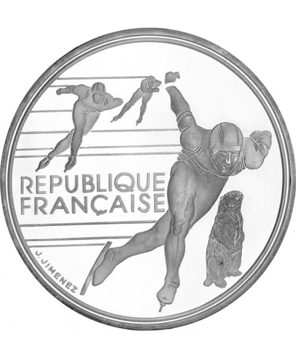 100 Francs 1990 - Albertville 1992 Patinage de vitesse - Argent BE