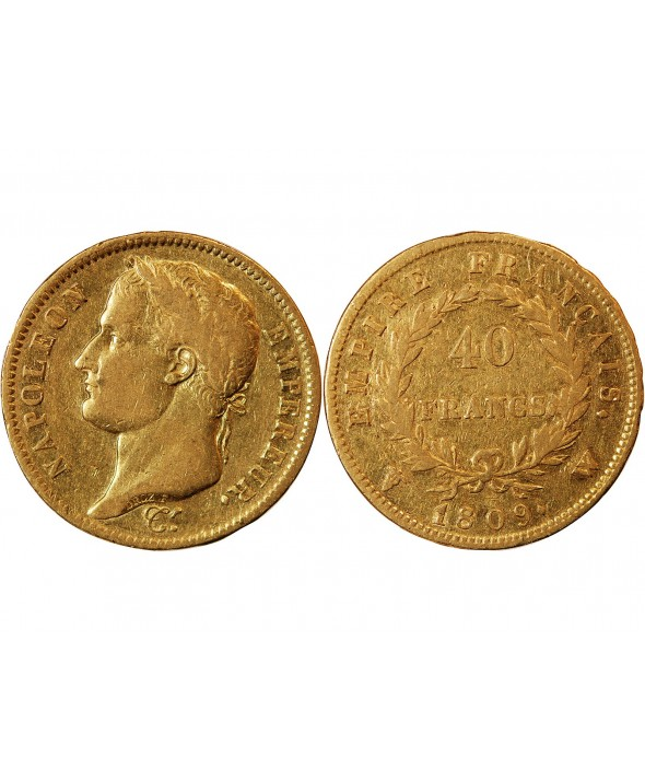NAPOLEON Ier - 40 FRANCS OR 1809 W LILLE