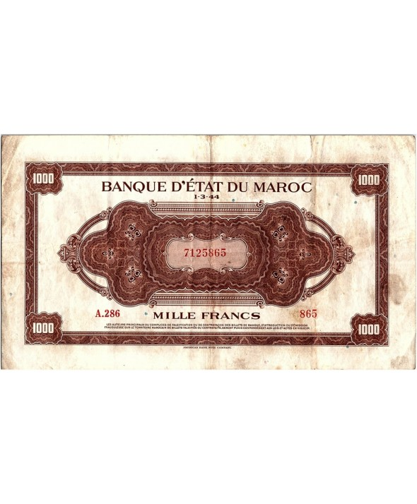 1000 Francs, Marron, Impr Américaine - 01-03-1944