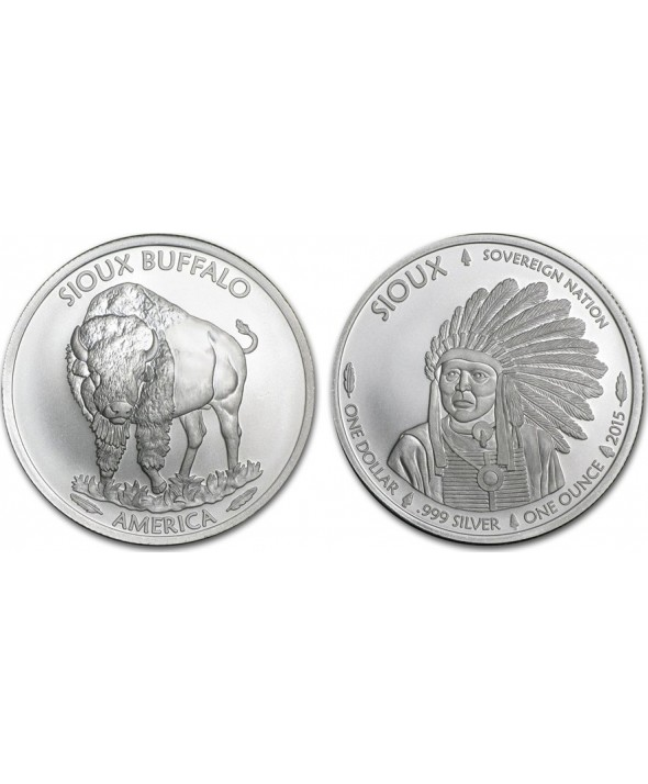 1 Dollar, Bison Indien Sioux - 1 Once Argent 2015