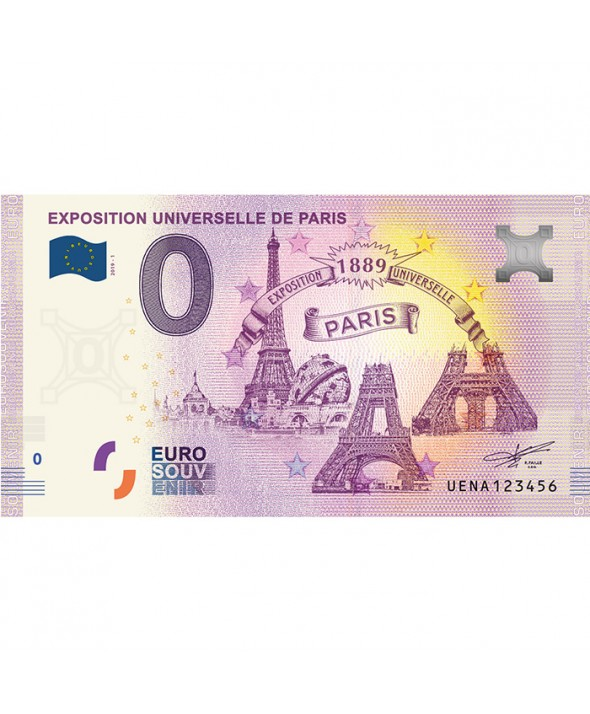 Billet 0 Euro Souvenir - Exposition Universelle de 1889 - France 2019