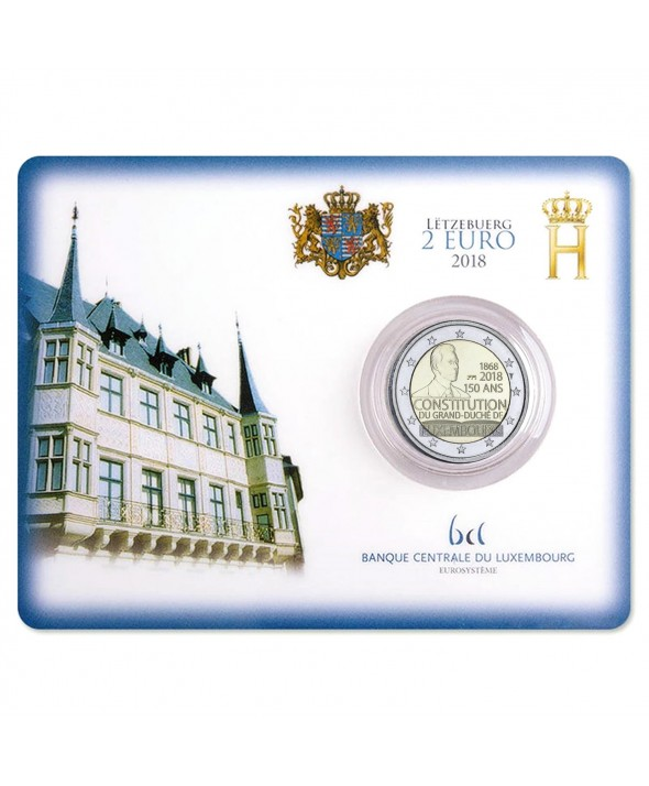 2 EUROS COMMÉMO. BU COINCARD LUXEMBOURG 2018 - 150 ANS CONSTITUTION