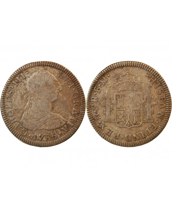 MEXIQUE, CHARLES III - 2 REALES ARGENT 1785 FM MEXICO