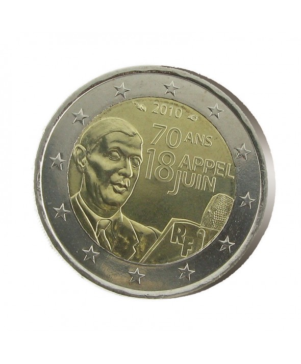 2 Euros Commémo. FRANCE 2010 - Appel du 18 Juin 1940