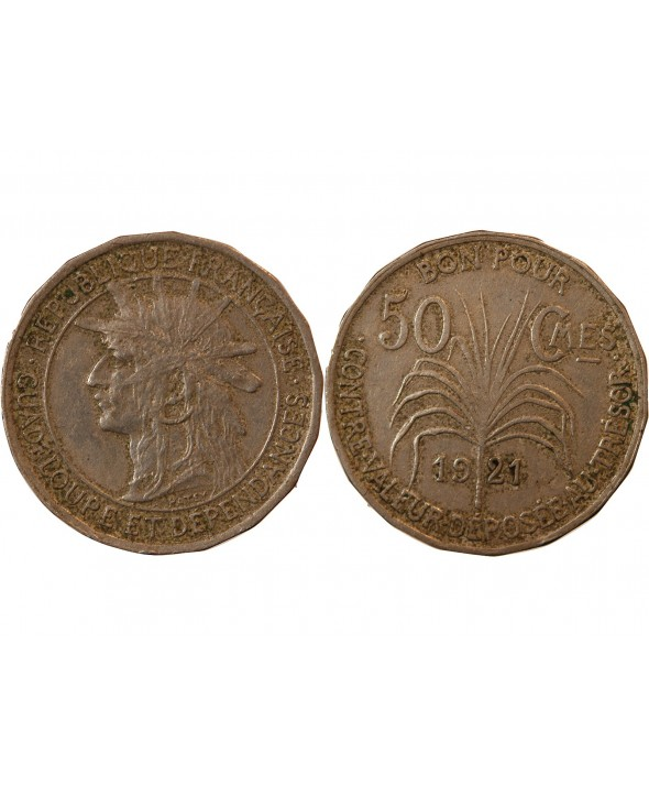 GUADELOUPE - 50 CENTIMES 1921
