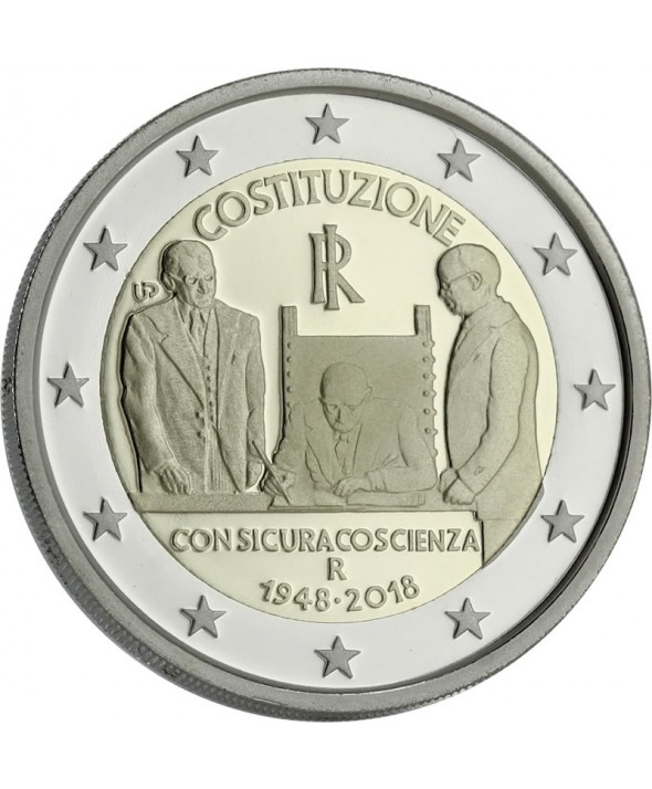 2 Euros Commémo. ITALIE 2018 BE - 70 ans Constitution Italienne