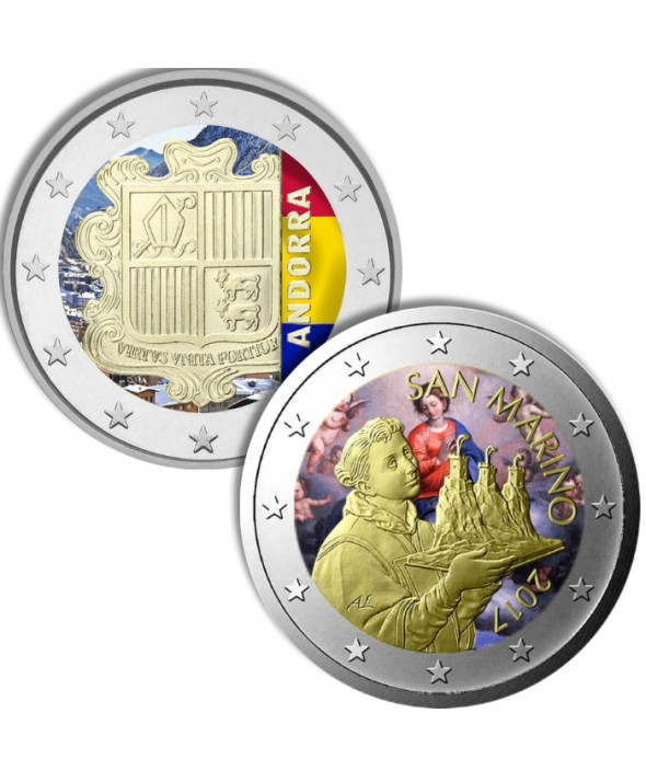 LOT des 2 Euros Circulation couleur Andorre Saint Marin