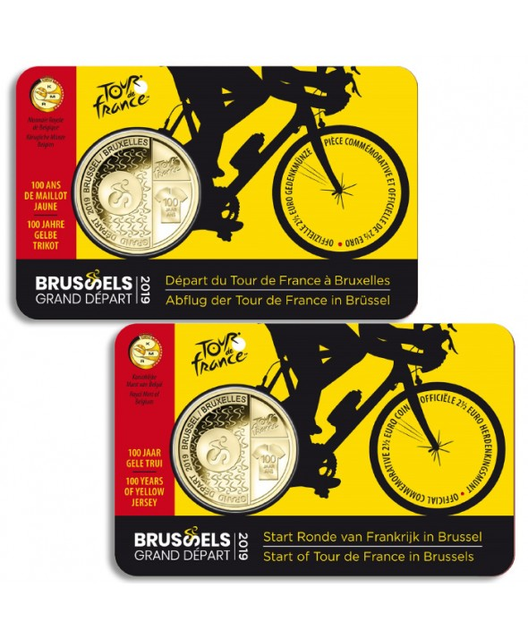 LOT 2 X 2,5 Euros Commémo. Belgique 2019 (Wallon et Flamand) - Grand Départ Tour de France