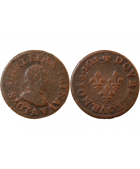 LOUIS XIII - DOUBLE TOURNOIS 1611 A PARIS