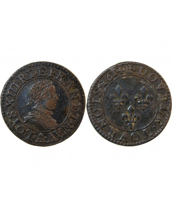 LOUIS XIII - DOUBLE TOURNOIS 1614 A PARIS