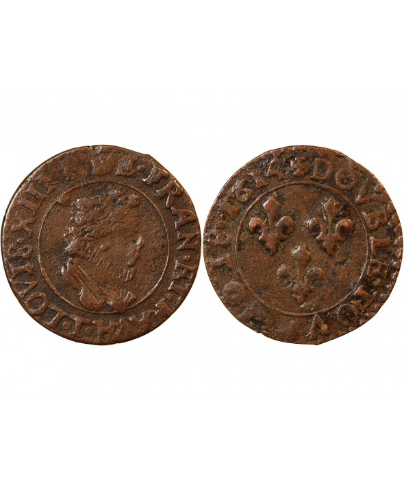 LOUIS XIII - DOUBLE TOURNOIS 1614 T NANTES