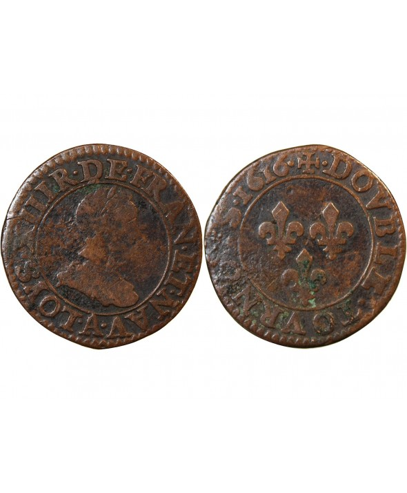 LOUIS XIII - DOUBLE TOURNOIS 1616 A PARIS