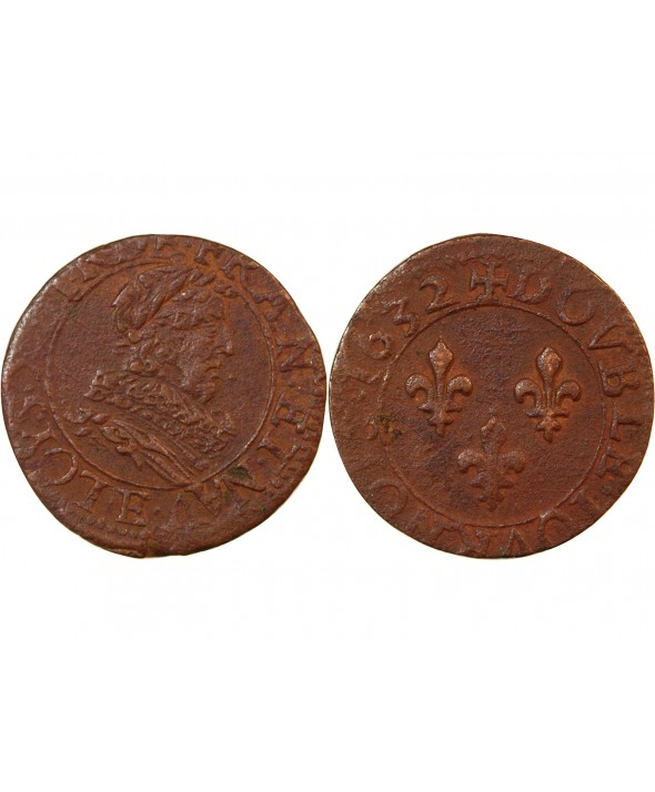 LOUIS XIII - DOUBLE TOURNOIS 1632 E TOURS