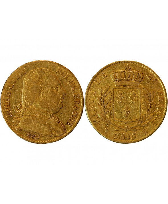 LOUIS XVIII - 20 FRANCS OR 1815 W LILLE