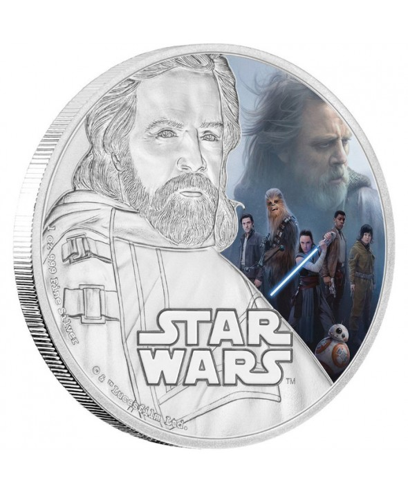 LUKE SKYWALKER - STAR WARS - 1 Once Argent Couleur NIUE 2017