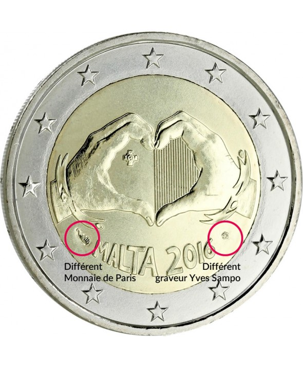 2 Euros Commémo. MALTE 2016 - Love (AVEC DIFFERENT MONNAIE DE PARIS)