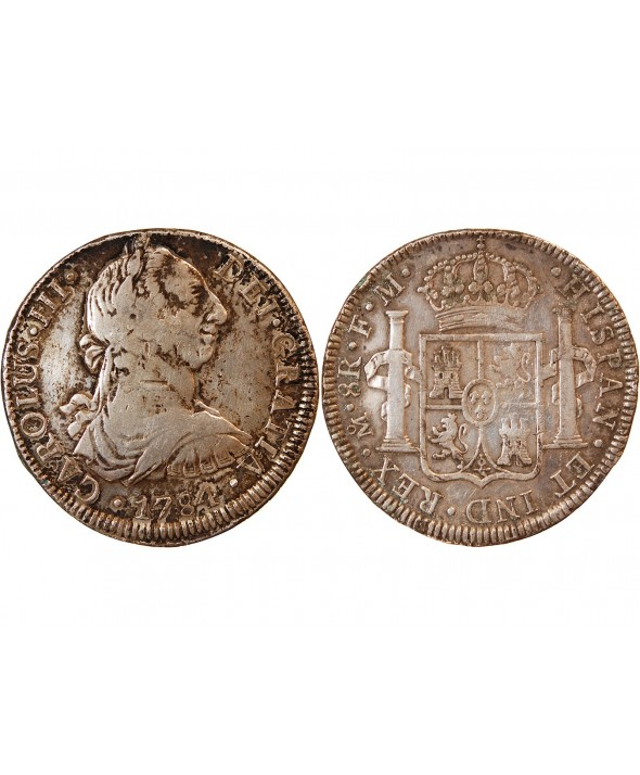 MEXIQUE, CHARLES III - 8 REALES ARGENT 1784 MEXICO