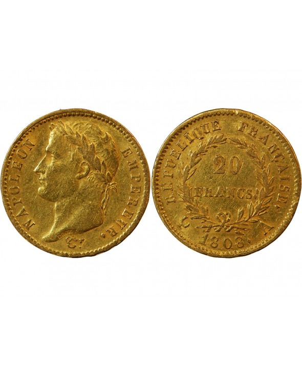 "NAPOLEON Ier - 20 FRANCS OR 1808 A PARIS ""Type République"""