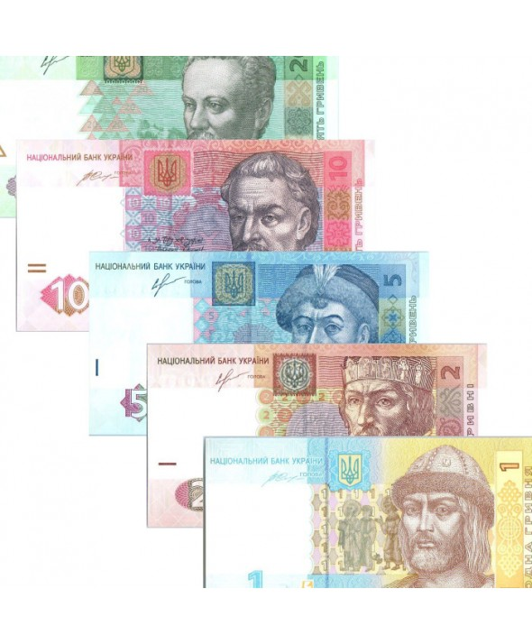 Lot 5 billets de 1 à 20 Hryven Ukraine 2013 à 2015