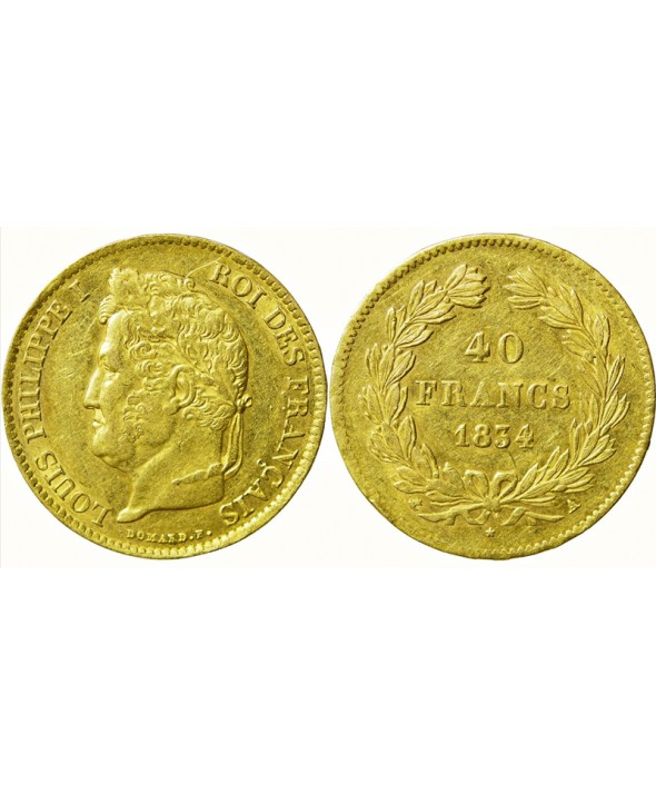 40 Francs Louis Philippe Or - 1831 à 1838