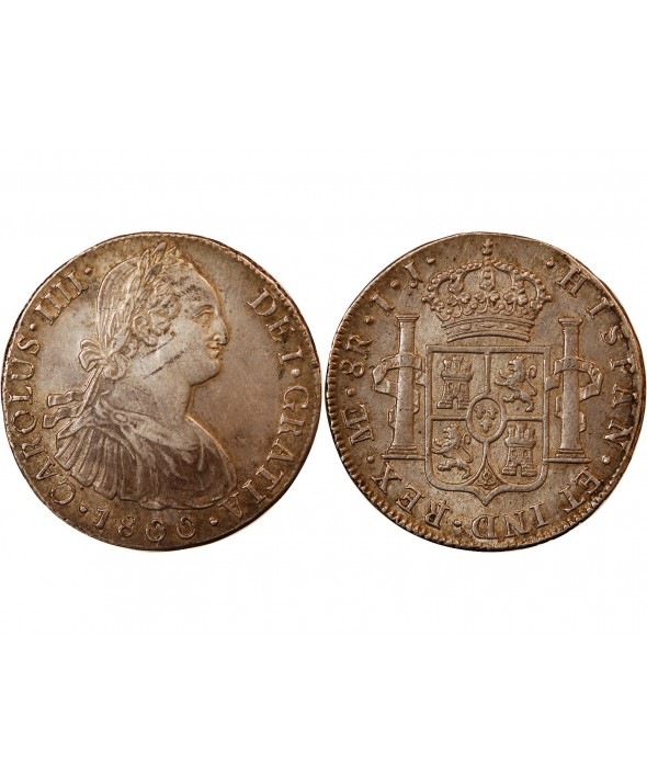PEROU, CHARLES IV - 8 REALES ARGENT 1800 IJ LIMA