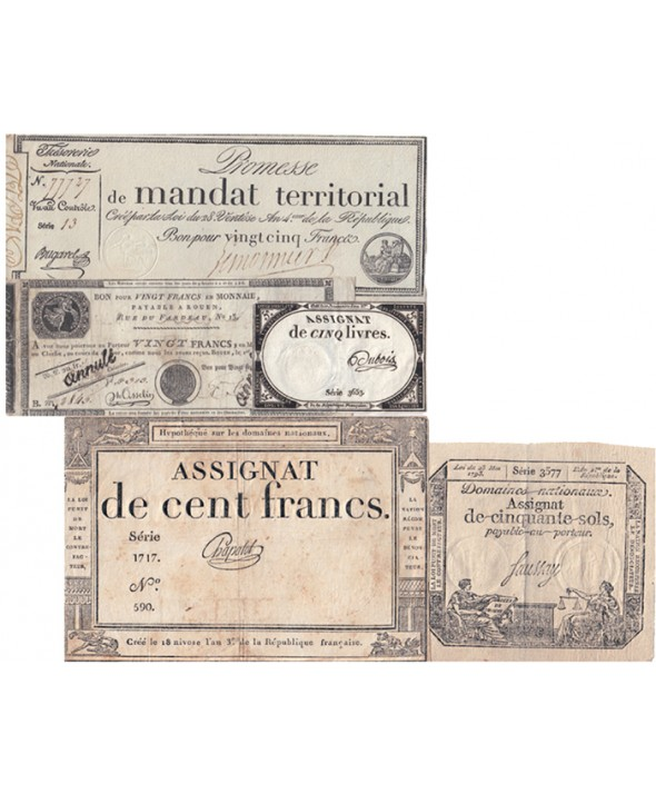 Lot révolutionnaire de 5 assignats - Lot n°4