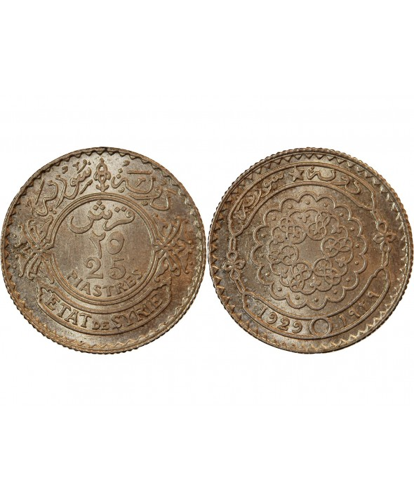SYRIE - 25 PIASTRES ARGENT 1929