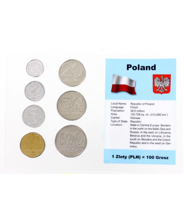 Blister 7 monnaies POLOGNE (1 à 100 zloty)